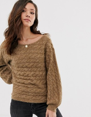 Abercrombie & Fitch knit sweater in toasted coconut
