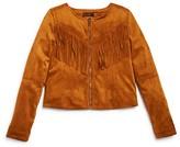 Ella Moss Girls' Faux Suede Fringed Jacket - Sizes 7-14