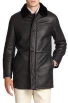 Salvatore Ferragamo Leather & Lamb Shearling Coat