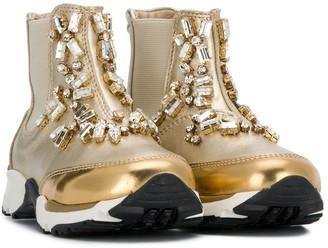Ermanno Scervino Embellished Hi-Top Sneakers