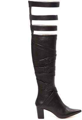 Juliana Herc Black Thigh High Boots With Straps