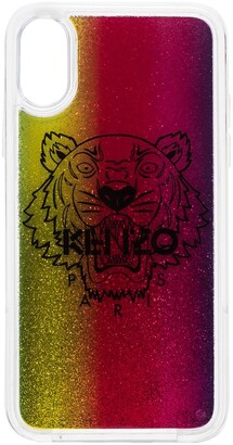 Kenzo Tiger motif glitter-effect iPhone XS case