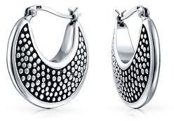 Bling Jewelry Lightweight Crescent Moon Boho Caviar Hoop Earrings Sterling Silver