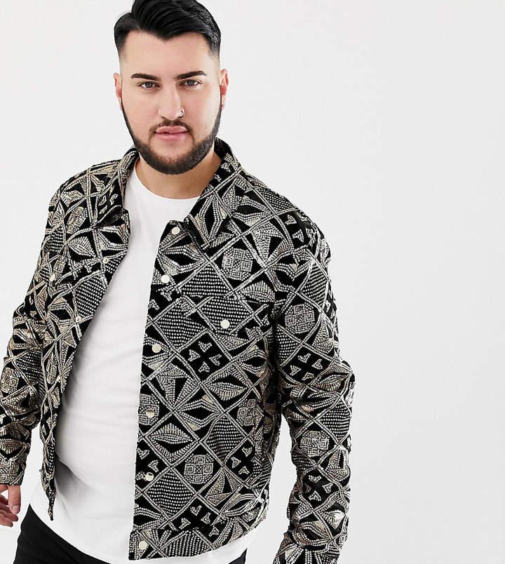 2813ec422 Design DESIGN Plus western jacket with gold sequins in black velour