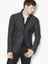 John Varvatos Tonal Plaid Zip Detail Jacket