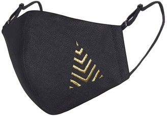Black Linen Cotton Face Mask With Filter Pocket & Christmas Tree Embroidery