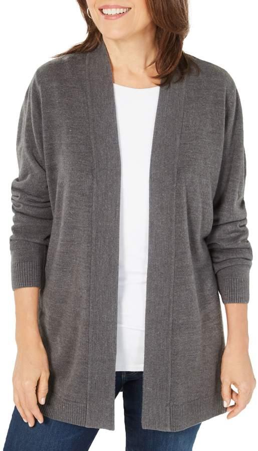 Karen Scott Petite Long-Sleeve Open-Front Cardigan
