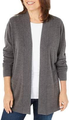 Karen Scott Petite Long-Sleeve Open-Front Cardigan