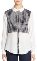 Ivanka Trump Mixed Print Button-Front Shirt