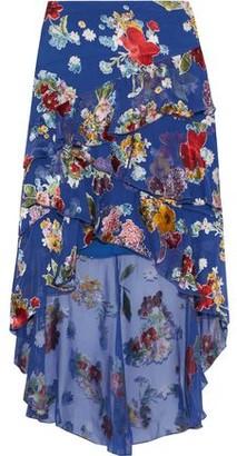Alice + Olivia Mariel Asymmetric Floral-print Burnout Chiffon Skirt
