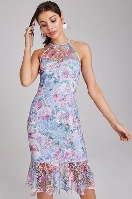 Paper Dolls Britten Blue Floral Lace Midi Peplum Dress