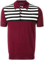 Prada striped panel knitted polo shirt