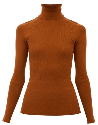Gucci Logo-embroidered Wool-blend Roll-neck Sweater - Womens - Orange