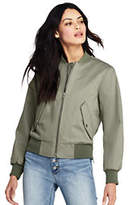 Lands' End Women's Cotton Bomber Jacket-White Canvas Heather