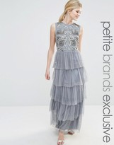 Maya Petite Sleeveless Maxi Dress With Embellished Bodice And Ruffle Skirt