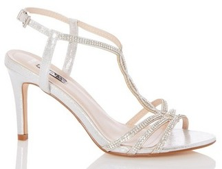 Dorothy Perkins Womens Quiz Wide Fit Silver 'Shimmer' Loop Sandals, Silver