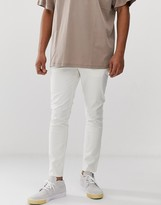 Asos Design DESIGN skinny ankle grazer chinos in off white