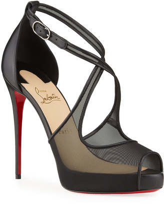 Christian Louboutin Mariacar Mesh Red Sole Platform Sandals
