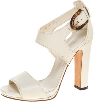 Gucci White Leather Lifford Bamboo Buckle Block Heel Sandals Size 37.5