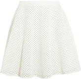 DKNY Leather-trimmed embroidered tulle skirt