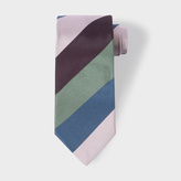 Paul Smith Men's Pink, Black, Green And Navy Diagonal Stripe Silk Tie