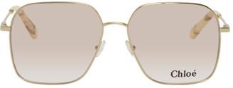 Chloé Gold Metal Square Sunglasses