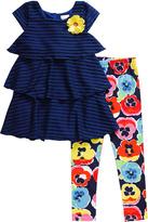 Youngland Blue Floral Ruffle Dress & Leggings - Infant Toddler & Girls