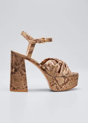 Gianvito Rossi 70mm Metallic Platform Sandals with Twist Front