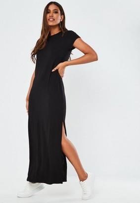 Missguided Black Double Split T Shirt Maxi Dress