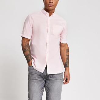 River Island Pink regular fit short sleeve Oxford shirt