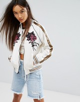 Obey Luxury Tour Bomber Jacket With Delicate Embroidery