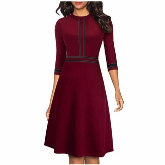 YBWZH Women Casual Dress Fashion Solid Dress O-Neck Half Sleeve Dress Stripe Splice Zipper Mini Dress Women Vintage Workwear Fashion Slim Dress (Wine S)
