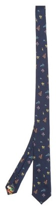 Paul Smith Floral-embroidered Silk-twill Tie - Navy