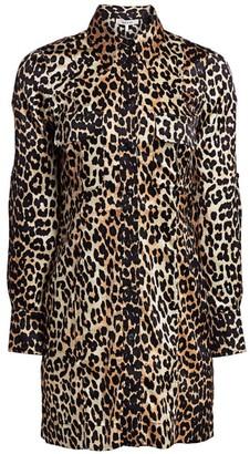Ganni Stretch-Silk Satin Leopard-Print Shirtdress