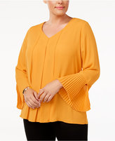 NY Collection Plus Size Pleated Split-Cuff Top