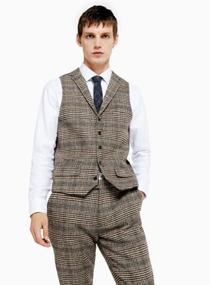 TopmanTopman HERITAGE Brown Check Skinny Fit Suit Waistcoat