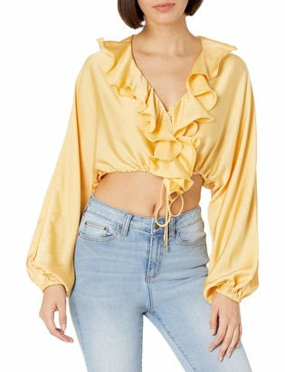 C/Meo Women's Knowing of This Ruffle Front Long Sleeve Blouse Top