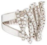 Damiani 18K Diamond Crisscross Ring