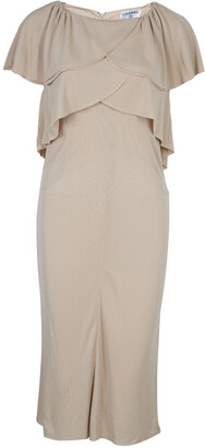 Chanel Beige Knit Petal Sleeve Ruffle Detail Dress S
