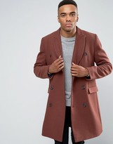 Asos Wool Mix Double Breasted Overcoat In Rust