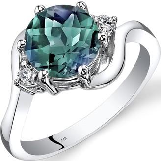 Oravo 14K White Gold 2.25 ct Round Created Alexandrite and Diamond 3-stone Ring Size - 7