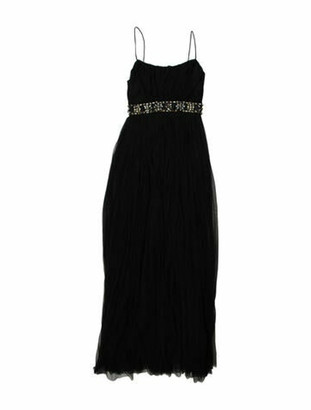 Needle & Thread Square Neckline Long Dress Black