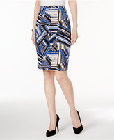 Kasper Abstract-Print Pencil Skirt