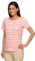 Liz Claiborne New York Crew Neck Striped Print Knit Top