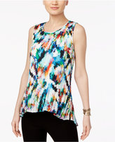 Cable & Gauge Floral-Print Pleated Top