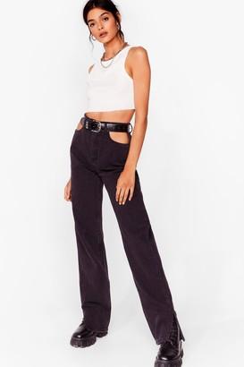 Nasty Gal Womens Out of Pocket Slit Hem Jeans - Washed Black