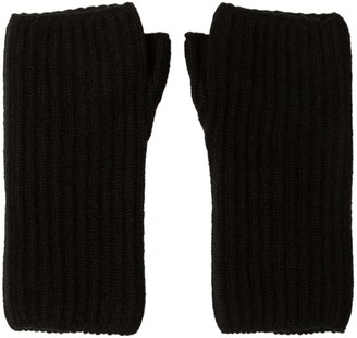 Johnstons of Elgin Black Ribbed Womens Cashmere Wristwarmers