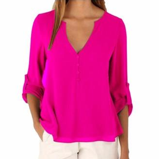 Ai.Moichien Women V Neck Cuffed Long Sleeve Button Down Solid Color Plus Size Tops Loose Chiffon Shirt Blouse S-5XL Brown