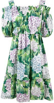Dolce & Gabbana hydrangea print cold shoulder dress - women - Cotton - 44