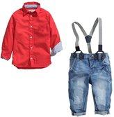 Dehutin 2017 Boys Fashion Clothing Set 2 Pieces Set Shirt and Suspender Jeans